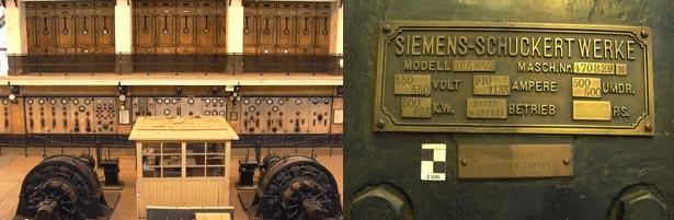 Museu do Carro Eléctrico - Teilansicht der Maschinenhalle mit Hauptschalttafel und Einankerumformern, Detailansichten eines Einankerumformers
