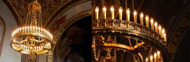 Russisch-Orthodoxe Kirche, Restaurierung und Elektrifizierung der Leuchter